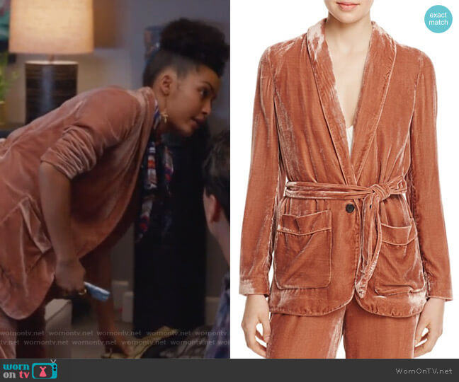 Anasophia Velvet Jacket by Joie worn by Zoey Johnson (Yara Shahidi) on Grown-ish