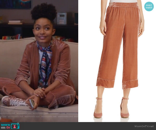 Kaitrine Cropped Velvet Pants by Joie worn by Yara Shahidi on Grown-ish