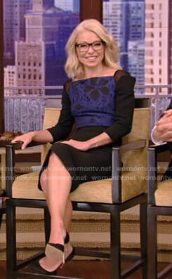 Kelly's floral mesh inset sheath dress on Live with Kelly and Ryan