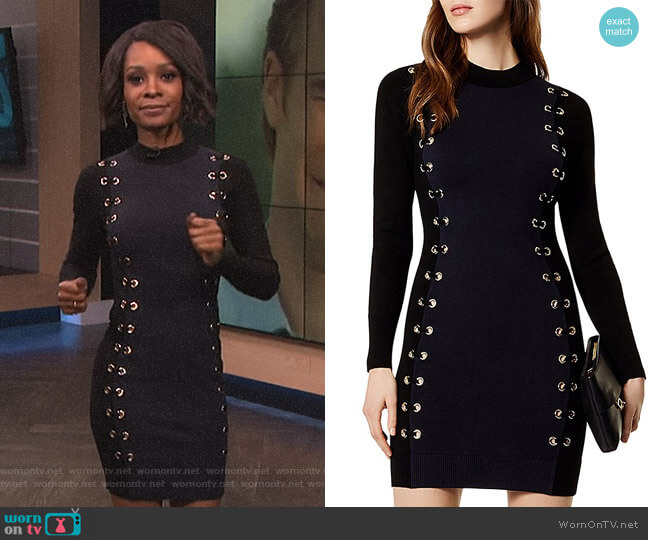 Grommet Lace-Up Dress by Karen Millen worn by Zuri Hall  on E! News