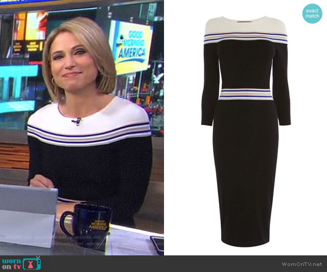 Striped Knitted Midi Dress by Karen Millen worn by Amy Robach on Good Morning America