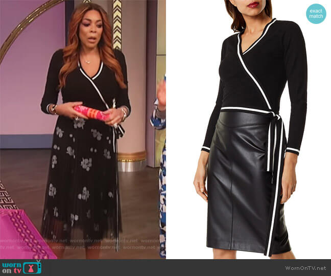 Striped-Trim Faux-Wrap Top by Karen Millen worn by Wendy Williams on The Wendy Williams Show