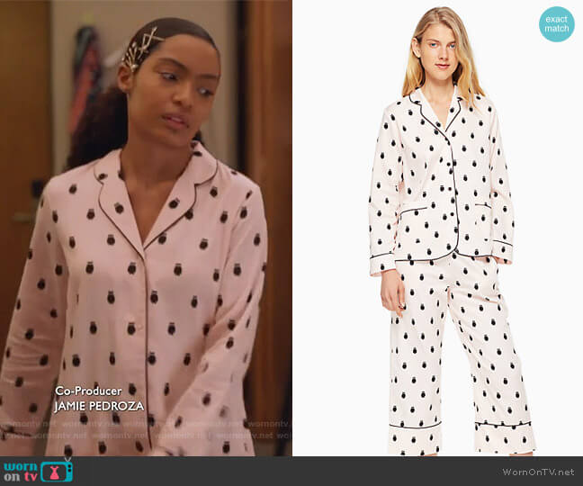Cropped PJ Set by Kate Spade worn by Yara Shahidi on Grown-ish