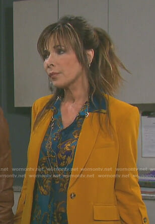 Kate's yellow button sleeve jacket on Days of our Lives