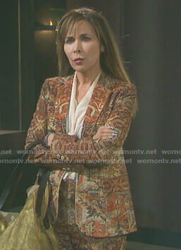 Kate's tapestry printed suit on Days of our Lives