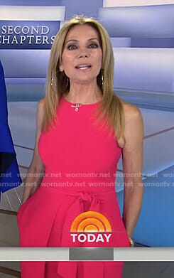 Kathie's pink tie waist jumpsuit on Today