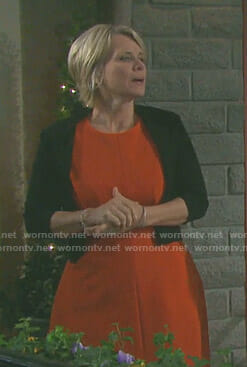 Kayla's orange a-line dress on Days of our Lives