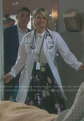 Kayla's white embellished collar top and floral skirt on Days of our Lives