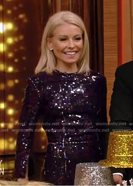 Kelly's black sequin midi dress on Live with Kelly and Ryan