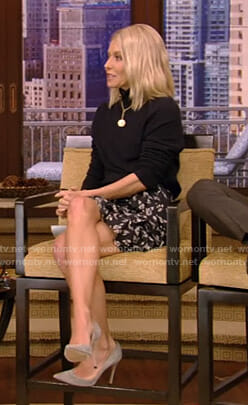 Kelly's black turtleneck sweater and floral tiered skirt on Live with Kelly and Ryan