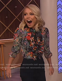 Kelly Ripa's floral embellished blouse on The Wendy Williams Show