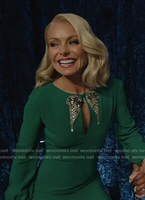 Kelly's green embellished wing dress on Live with Kelly and Ryan at the Oscars