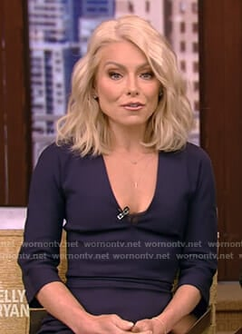 Kelly's navy v-neck fitted dress on Live with Kelly and Ryan