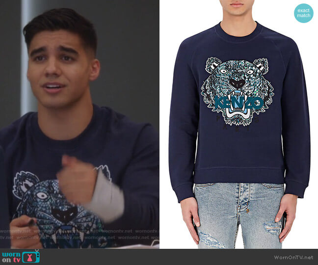 Tiger-Embroidered French Terry Sweatshirt by Kenzo worn by Vivek Shah (Jordan Buhat) on Grown-ish