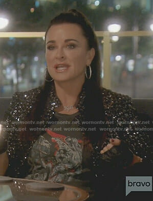 Kyle's black print top and sequin jacket on The Real Housewives of Beverly Hills