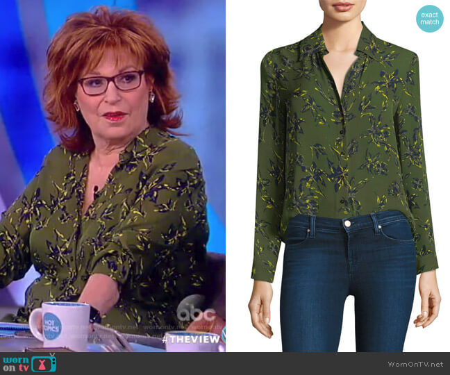 Nina Leaf-Print Silk Blouse by L'Agence worn by Joy Behar on The View