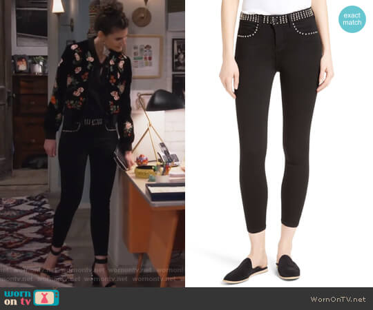 Studded Crop Jeans by L'Agence worn by Lindsey Kraft on Living Biblically