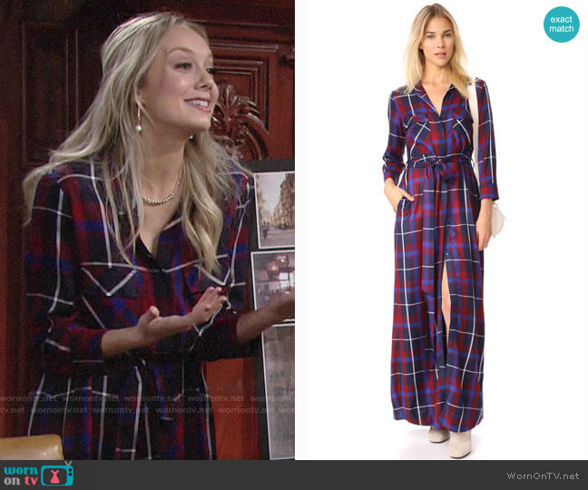L'Agence Cameron Plaid Shirtdress worn by Abby Newman (Melissa Ordway) on The Young & the Restless
