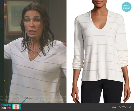 V-Neck Striped Cashmere Sweater by Lafayette 148 New York worn by Kristian Alfonso on Days of our Lives