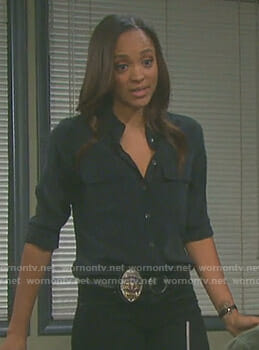 Lani's black button down shirt on Days of our Lives