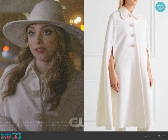 'Laurette' cape by Roksanda worn by Fallon Carrington (Elizabeth Gillies) on Dynasty