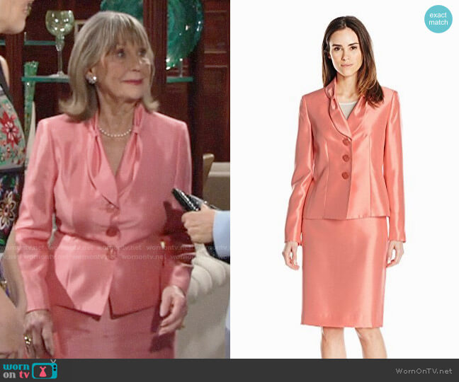 Le Suit Shiny 3 Button Jacket & Skirt worn by Marla Adams on The Young & the Restless
