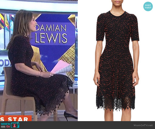 Speckled-Tweed Lace-Hem Dress by Lela Rose worn by Savannah Guthrie on Today
