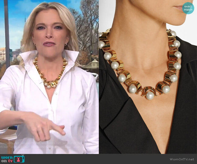 Groove gold-plated faux pearl necklace by Lele Sadoughi worn by Megyn Kelly  on Today