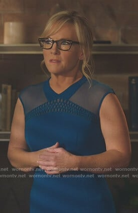 Linda's blue mesh shoulder dress on Lucifer