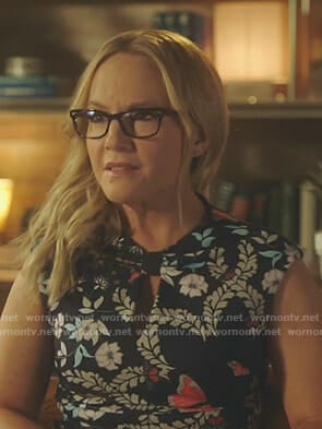 Linda's navy butterfly print dress on Lucifer