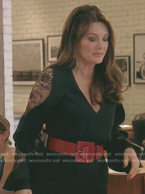 Lisa's black jumpsuit with ruffled lace sleeves on The Real Housewives of Beverly Hills