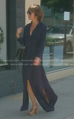 Lisa's navy maxi shirtdress with slits on The Real Housewives of Beverly Hills