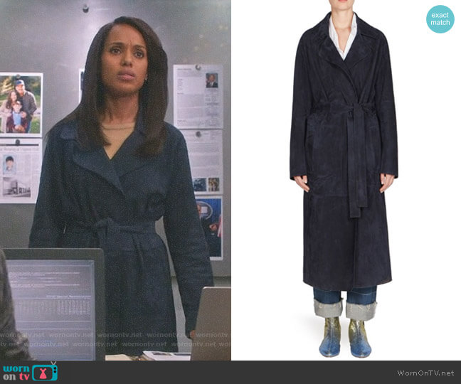 Long Suede Belted Coat by Loewe worn by Kerry Washington on Scandal