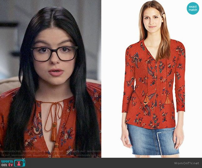 Lucky Brand Printed Peasant Top worn by Alex Dunphy (Ariel Winter) on Modern Family