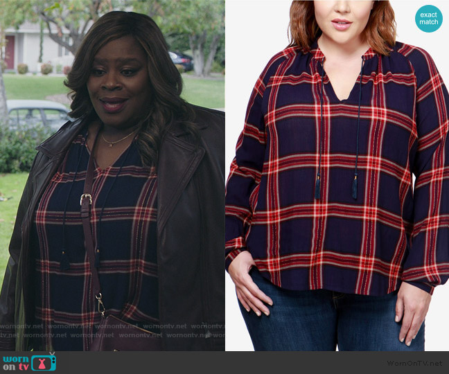 Trendy Plus Size Plaid Peasant Top by Lucky Brand worn by Ruby Hill (Retta) on Good Girls