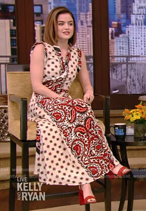 Lucy Hale's bandana print ruffled top and skirt on Live with Kelly and Ryan