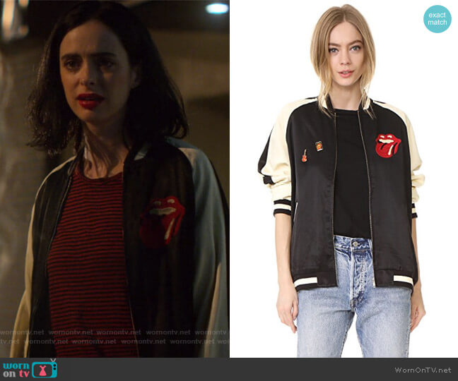 Rolling Stones Bomber Jacket by Madeworn Rock worn by Krysten Ritter on Jessica Jones