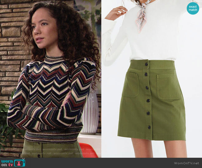 Madewell Station Mini Skirt worn by Mattie Ashby (Lexie Stevenson) on The Young & the Restless