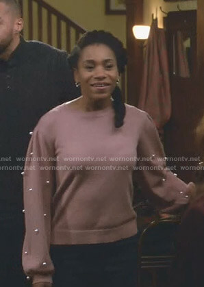 Maggie's pink sweater with pearls on Grey's Anatomy