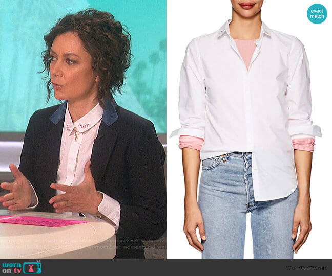 Embroidered Cotton Poplin Blouse by Maison Labiche worn by Sara Gilbert  on The Talk