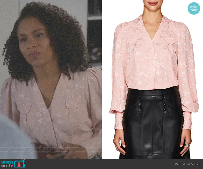 Charlotte Floral Silk Jacquard Blouse by Maison Mayle worn by Kelly McCreary on Greys Anatomy