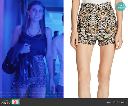 Ilio Front-Overlay Tapestry-Inspired Jacquard Mini Shorts by Maje worn by Emily Arlook on Grown-ish