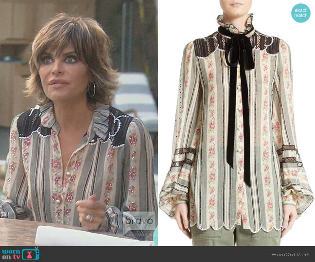 Embellished Brocade Print Blouse by Marc Jacobs worn by Lisa Rinna  on The Real Housewives of Beverly Hills