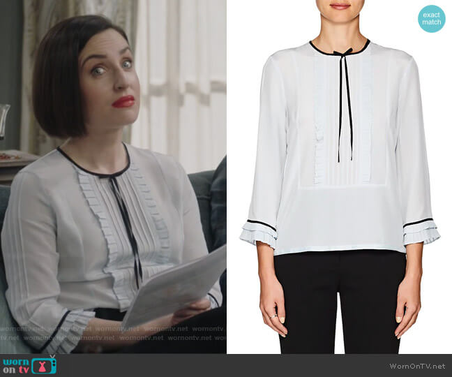 Pleated Silk Blouse by Marc Jacobs worn by Jennifer Short (Zoe Lister-Jones) on Life in Pieces