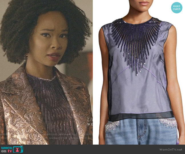 Tulle Shell Sequin Blouse by Marc Jacbos worn by Monica Colby (Wakeema Hollis) on Dynasty