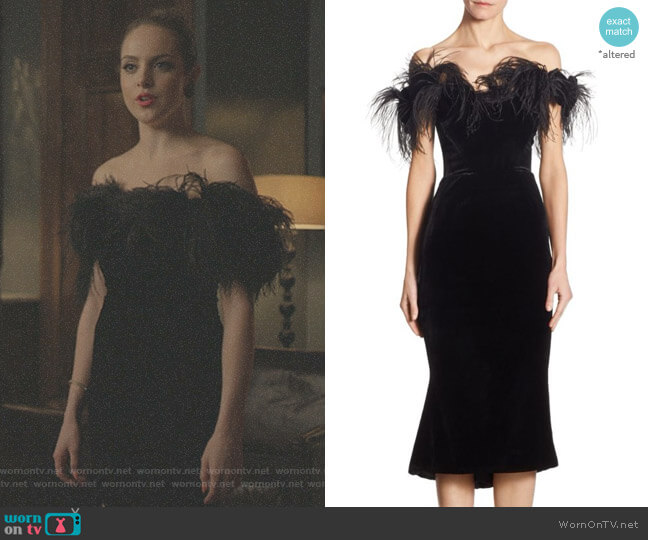 ff-The-Shoulder Velvet Dress by Marchesa worn by Fallon Carrington (Elizabeth Gillies) on Dynasty