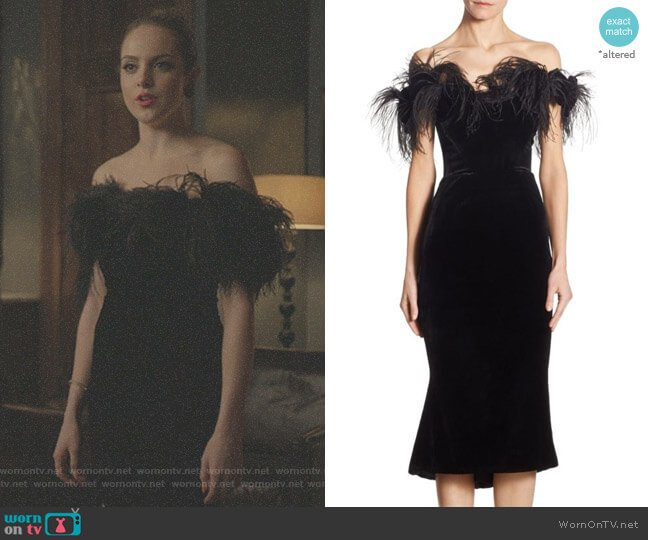 ff-The-Shoulder Velvet Dress by Marchesa worn by Elizabeth Gillies on Dynasty