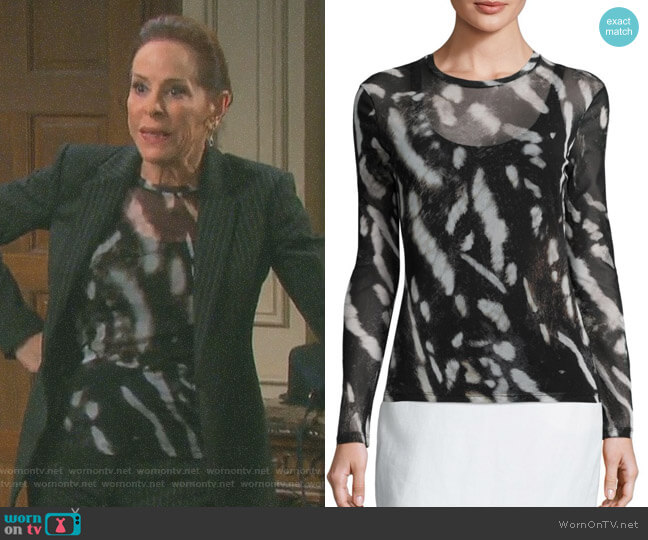 Helga Printed Top by Max Mara worn by Vivian Alamain (Louise Sorel) on Days of our Lives