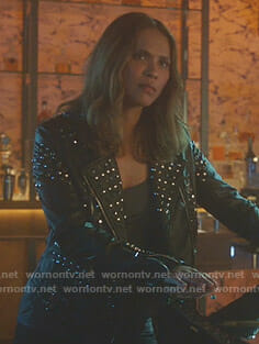 Maze's black studded moto jacket on Lucifer