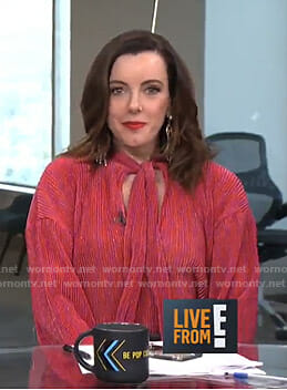 Melanie's red pleated tie neck top on Live from E!